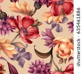 seamless pattern  botanical... | Shutterstock . vector #635461886