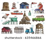 travel seaside town constructor ... | Shutterstock .eps vector #635466866