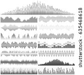 vector set of sound waves.... | Shutterstock .eps vector #635468618