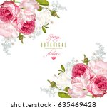 vector floral banner with... | Shutterstock .eps vector #635469428