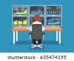 businessman or stock market... | Shutterstock .eps vector #635474195