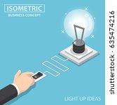 flat 3d isometric businessman... | Shutterstock .eps vector #635474216