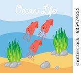 underwater scene in cartoon... | Shutterstock .eps vector #635474222