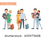 people and family traveling on... | Shutterstock .eps vector #635475608