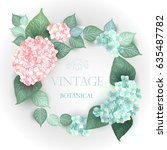 vector flower wedding... | Shutterstock .eps vector #635487782