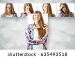young european woman hiding... | Shutterstock . vector #635493518