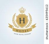 hotel logo. luxury crests icon. ... | Shutterstock .eps vector #635495612