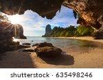 thailand railay sand beach view ... | Shutterstock . vector #635498246