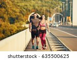 early morning workout. happy... | Shutterstock . vector #635500625
