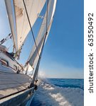 sailing boat in the sea  blue... | Shutterstock . vector #63550492