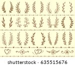 vintage wreaths set with... | Shutterstock .eps vector #635515676
