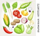 fresh vegetables collection  | Shutterstock .eps vector #635516072