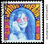 Small photo of LUGA, RUSSIA - APRIL 26, 2017: A stamp printed by USA shows image portrait of Janis Lyn Joplin - famous American singer of the 1960s, circa 2014