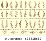 vintage wreaths set with... | Shutterstock . vector #635518652