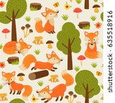 seamless pattern with fox in... | Shutterstock .eps vector #635518916