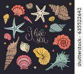 hand drawn sea shells and stars ... | Shutterstock .eps vector #635522642