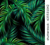 tropical summer palms pattern | Shutterstock .eps vector #635531042
