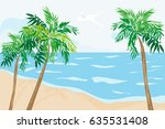 tropical beach with palm trees.    Shutterstock . vector #635531408