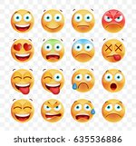 set of cute emoticons on white... | Shutterstock .eps vector #635536886