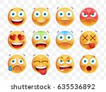 set of cute emoticons on white... | Shutterstock .eps vector #635536892