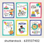 set of birthday card with... | Shutterstock .eps vector #635537402