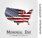 happy memorial day  flag usa ... | Shutterstock .eps vector #635539472