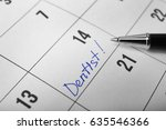word dentist in calendar and...   Shutterstock . vector #635546366