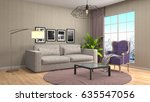 interior living room. 3d... | Shutterstock . vector #635547056