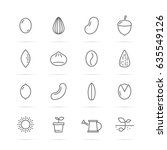 seed and nut vector line icons  ... | Shutterstock .eps vector #635549126