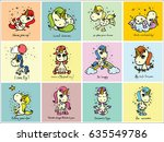 cute magic unicorn cards with... | Shutterstock .eps vector #635549786