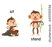 opposite words sit and stand... | Shutterstock .eps vector #635550536