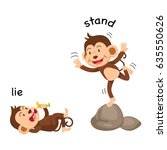 opposite words lie and stand... | Shutterstock .eps vector #635550626