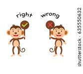 opposite words right and wrong... | Shutterstock .eps vector #635550632