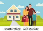 happy young family near their... | Shutterstock .eps vector #635550932