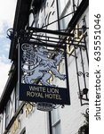 Small photo of Bala Wales UK - May 3 2017: Traditional style pub sign outside the White Lion Royal Hotel pictorial signs date back hundred of years and were used to identify inns as an early form of advertising