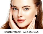 beautiful woman face portrait... | Shutterstock . vector #635553965