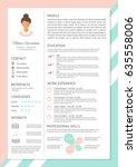 feminine resume with... | Shutterstock .eps vector #635558006