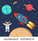 astronaut monkey in space with... | Shutterstock .eps vector #635564276