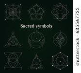 set of sacred geometry symbols... | Shutterstock .eps vector #635567732