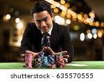 portrait the young gambler man... | Shutterstock . vector #635570555