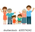 happy family cartoon character... | Shutterstock .eps vector #635574242