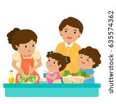 happy family cook healthy food... | Shutterstock .eps vector #635574362
