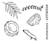 set of coconut pieces on white... | Shutterstock .eps vector #635580068