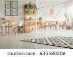 modern  white dining room with... | Shutterstock . vector #635580206