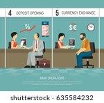 bank office clerks performing... | Shutterstock .eps vector #635584232