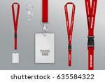 set of lanyard and badge. metal ... | Shutterstock .eps vector #635584322