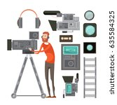 film cameraman with video... | Shutterstock .eps vector #635584325