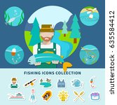 fishing flat composition with... | Shutterstock .eps vector #635584412