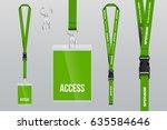set of lanyard and badge. metal ... | Shutterstock .eps vector #635584646