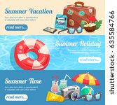 summer holiday set of... | Shutterstock .eps vector #635584766